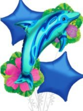 Foil Blue Dolphin Balloon Bouquet 5pc-Luau Balloons-Luau Theme Party-Theme Parties-Party City