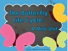 Butterfly Life Cycle Mini-Unit for PreK, Kindergarten, or 1st grade!  Lessons, printable activities, math & literacy centers.