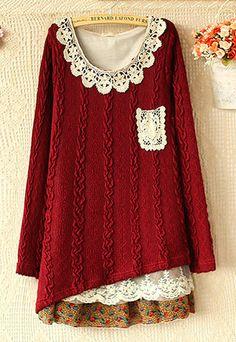 lulula-fashion shopping mall — [ghyxh3600824]Sweet Cute Lace Chiffon Spliced Knit Dress sleev knit, knit dresswin, splice knit, lace splice, dresses, lace chiffon, long sleev, causal lace, chiffon splice