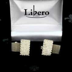 LIBERO Vintage Gents Silver Mesh Wraparound Cufflinks Tree Bark Original Box