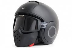 Shark Streetfighter is an open-face helmet that includes removable  flip-up goggles and a muzzle/chin bar attached to the goggles. The helmet can be used as an open-face, or full-face with the goggles and muzzle down.