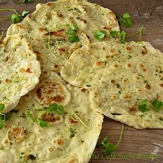 These are amazing! And super versatile too! Use them w/ soups, stews, Indian dishes, for roll-ups and wraps, besides salads, etc. Fabulous to just eat as a snack too with a bit of hummus! Herbed Naan (from 5 Minute Dough!)