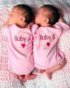 "Cute baby twin 1 piece ""Baby A-Baby B"" babi twin, babi pictur, twin girls, baby twins, babi babi, babi thingss, kid, twin photos, newborn twins"