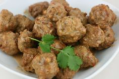 A Year of Slow Cooking: Slow Cooker Meatballs in Peanut Chile Sauce Recipe