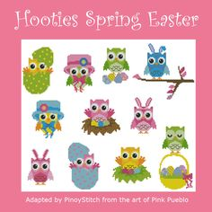 Mini Cross Stitch Pattern:Hooties Spring Easter  Design Source:Pink Pueblo  DMC Floss Colors:24  Stitch Count:195x162  Approximate Finished Size on Recommended Fabric:*  14count =14wx12hInches  16count =12wx10hInches  18count =11wx9hInches  22count =9wx7hInches