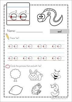EE Vowel Digraph Games-Activities-Worksheets {84 pages}. A page from the unit: worksheet