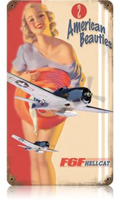 Hellcat Pinup Girl 8 x 14 Vintage Metal Sign | Man Cave Kingdom