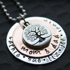 Sterling Silver and Copper Hand Stamped Pendant and Necklace... This necklace would make a great Christmas gift! copper tree, gift silver, family trees, mothers day, gift ideas, sterling silver, mother day gifts, 4400, christmas gifts