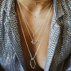 Layered necklaces. Sigh. Glamorous in every way. bling, jewelleri, fashion, style, layer necklac, accessori, necklaces, jewelri, thing