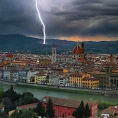 Lightning strike on the hills above Florence, Italy (by Moro).