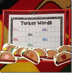 They have to identify the word on the turkey and stretch it out and write it in the boxes.