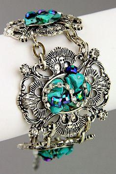 Antique silver bracelet with Gemstones & Rhonestone $19.95