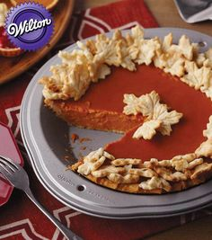 Pumpkin Pie Recipe with Fall Leaves Pastry Cutouts | Yum! Learn how to make this pumpkin pie from @wilton