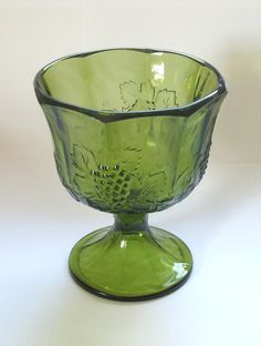 Indiana Glass Harvest Compote in Olive Green by MyNostalgia, $12.50