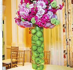 floral centerpieces, pink flowers, fruit, wedding ideas, green, colors, apples, lime, branches