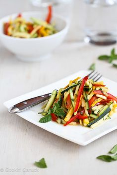 Tricolor Thai Salad Recipe with Zucchini & Yellow Squash   cookincanuck.com #recipe #salad #Thai by CookinCanuck, via Flickr