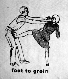 foot to groin...