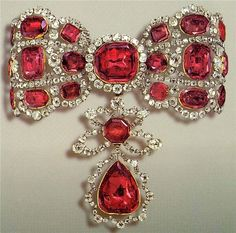 """THE BAND ESCLAVAGE OF CATHERINE II OF RUSSIA- Was created in the middle of the 18th century from silver, diamonds, spinel.  Spinel is a lovely, valuable stone that has suffered from being too similar to rubies. The masterpiece is signed as """" Pfysterer on April 10, 1764"""" - this is all we know from the jeweler who worked in St. Petersburg. Today the item is kept in The Diamond Fund, Moscow Kremlin, Russia"""
