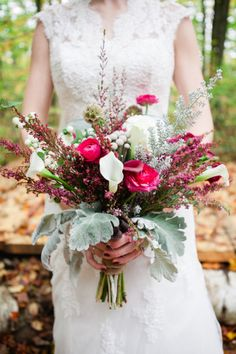 Beautiful fall bouquet: http://www.stylemepretty.com/canada-weddings/ontario/limehouse/2014/06/19/outdoor-wedding-in-limehouse-ontario/ | Photography: Corina V - http://corinavphotography.com/