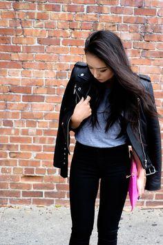 leather moto jacket //
