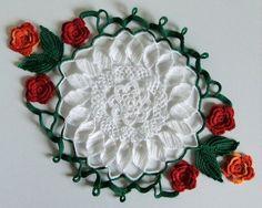 Crochet doily with irish roses. Irish lace. White green by Tjan, $37.99