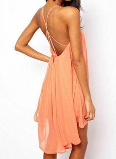 Pink Spaghetti Strap Backless Chiffon Dress