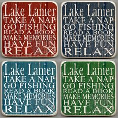 Lake Lanier, Georgia. SET OF 4 Handmade Marble Stone Coasters.