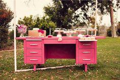 dessert tables, office desks, work desk, pink desk, parti