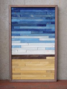 Rustic Wood Originals (Etsy)- Reclaimed Wood Abstract Beach.  This was built with a cool technique that teams could simulate with strips of paper, or strips of wood!