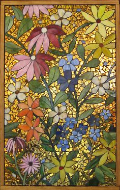 idea, craft, flower power art, glasses, stained glass mosaic, glass on glass mosaic, power stain, stain glass, flowers