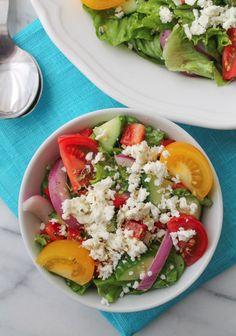 Easy Greek Salad with Minted Lemon Dressing
