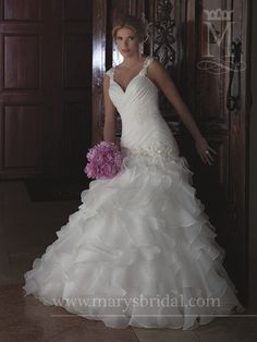 Ruffle and pleated wedding gowns on pinterest for Wedding dresses with pearls and diamonds