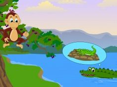 The poor crocodile makes his way back to the monkey - the story of the monkey and the crocodile poor crocodil, monkey