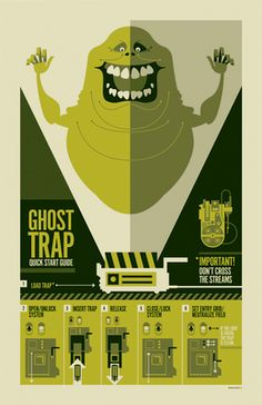 graphic, illustrations, ghostbusters, art, color pallets, ghosts, crosses, ghost trap, posters