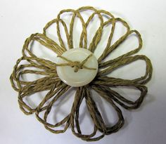 Make a Twine Flower using a cardboard loom twine flowers, ribbon
