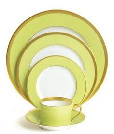 china, gold rim, gold rimmed china, gold rimmed, yellow, pistachio, tea, place setting, tea cup, cup, plate, dinning, dinning set, haviland
