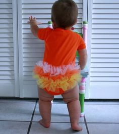 Candy corn onsie for Halloween @Stephanie Northcutt -wouldn't Faith look cute in this!?!?!?