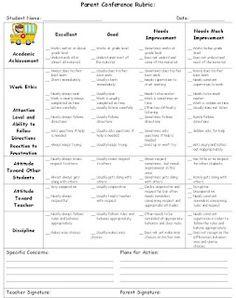 Parent-Teacher Conference Rubric
