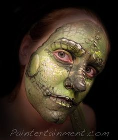 Trying out another new stencil...reptile skin! #facepainting #face #paint #iguana #lizard