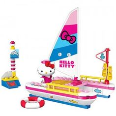 Set sail with Hello Kitty on the open seas with this buildable 89-piece sailboat with buoy, inner tube, and Hello Kitty figure.