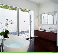 beautiful bathroom- check the pendant lighting over the mirror