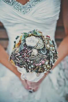 jeweled broach wedding bouquet! // photo by TealePhotography.net