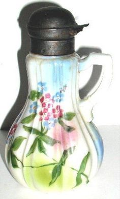 Antique Hand Painted Milk Glass Syrup Pitcher w/ Metal Lid