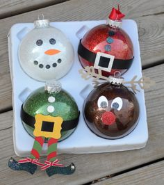 use different colored glitter in each ornament to make it a character