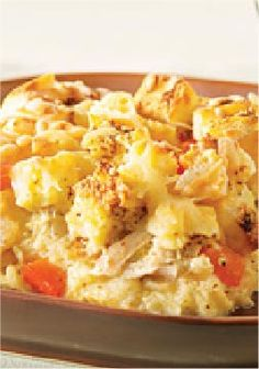Swiss Chicken Strata – This easy chicken recipe only take 15 minutes to prepare. Use whole wheat bread, FF cheese, & skim.
