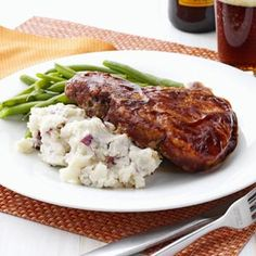 Soda Pop Chops with Smashed Potatoes