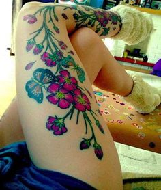 butterfli, cover up, ankle tattoos, garden art, leg tattoos, flower tattoos, floral tattoos, bright colors, ink