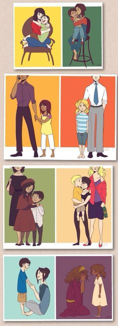 The seven demigods with their mortal parents<<<<hazel broke my heart