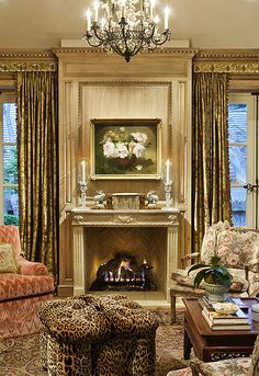 100s of Indoor Fireplaces  http://www.pinterest.com/njestates/indoor-fireplace-ideas/   Thanks To  http://www.njestates.net/ decor, interior design, chair, indoor fireplaces, biddleston cottag, animal design, cottag sit, deco idea, leopard