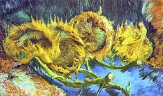 ❀ Blooming Brushwork ❀ - garden and still life flower paintings - Van Gogh, Vincent | Four Cut Sunflowers, 1887